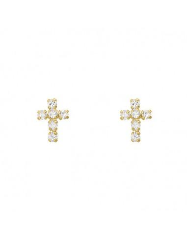 Broquel cruz con zirconias Oro 10K